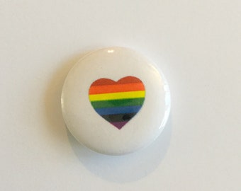 "LGBTQ Rainbow Heart 1"" Pin"