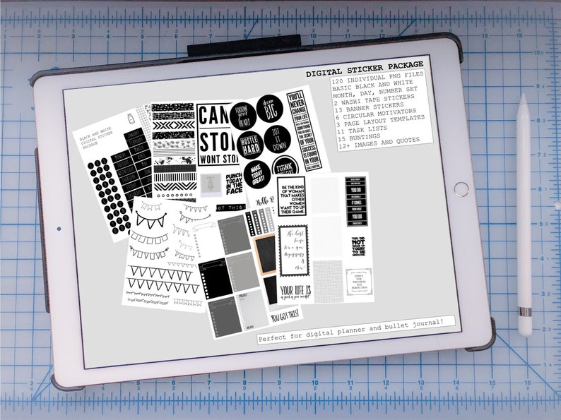 Digital Black and White Stickers image 0