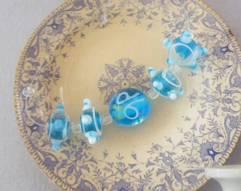 5 lampwork beads, aqua blue beads, glass beads, bumpy beads, art glass beads, jewelry supplies, beads