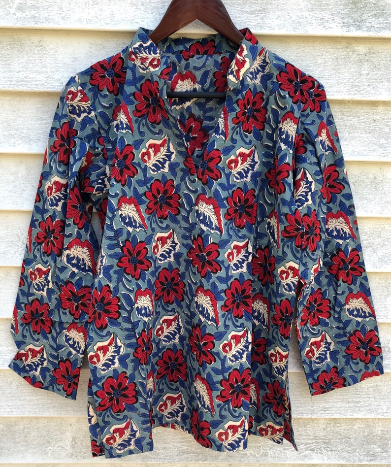 cotton tunic hand printed with wood blocks floral print tunic coverup Dahlia block print floral cotton tunic
