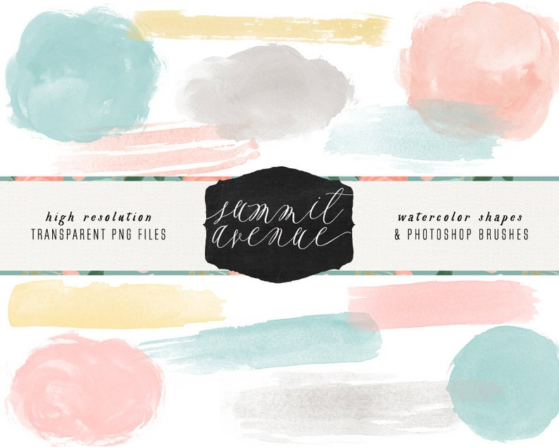 Hand Painted Watercolor Brush Strokes Photoshop Brushes & Clip Art