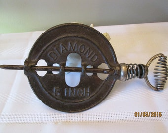 "Vintage Cast Iron Stove Damper, Wall Decor, Wall Hanging, Adams Dubuque, Iowa, Diamond 5"" Damper, Kitchen Decor, Country Kitchen"