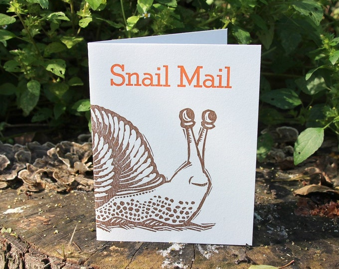 "Letterpress Greeting Card: ""Snail Mail"""