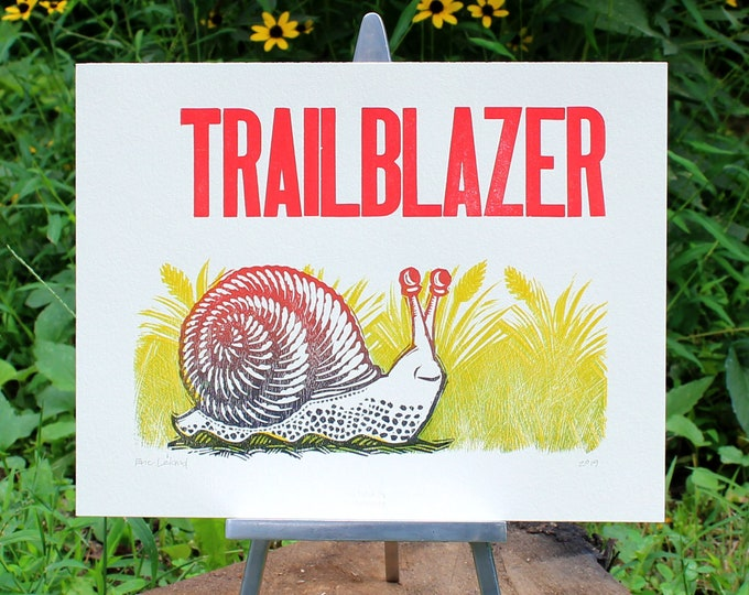 "Woodblock and Letterpress Print: ""Trailblazer"""