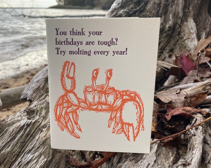 Letterpress Happy Birthday Card: Crab