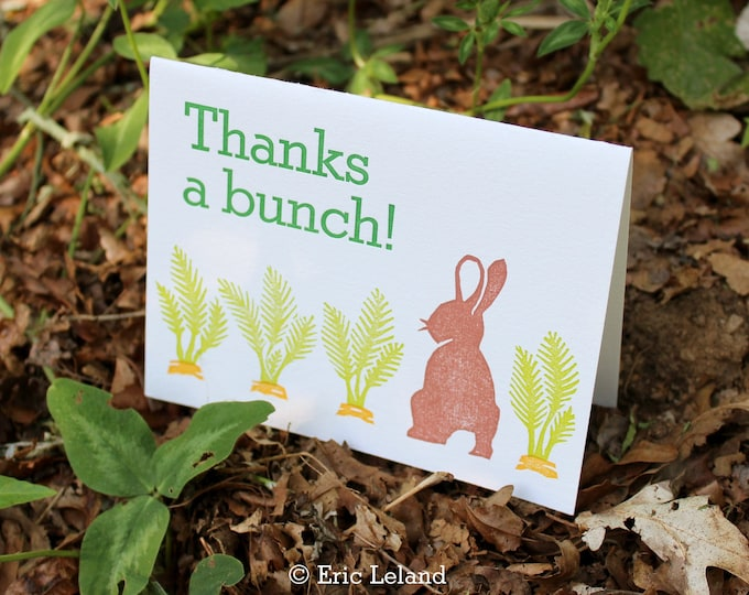 "Letterpress Thank You Card: ""Thanks a bunch"""