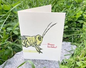 Letterpress Happy Birthday Card: Grasshopper