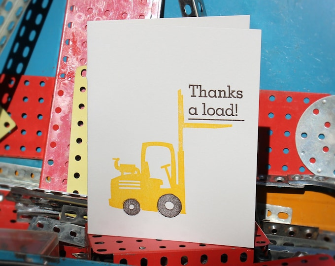"Letterpress Thank You Card: ""Thanks a load!"""