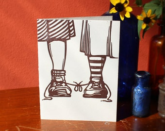 """Funny Letterpress Lesbian Wedding Congratulations Card: """"Congratulations on tying the knot"""" for two brides"""
