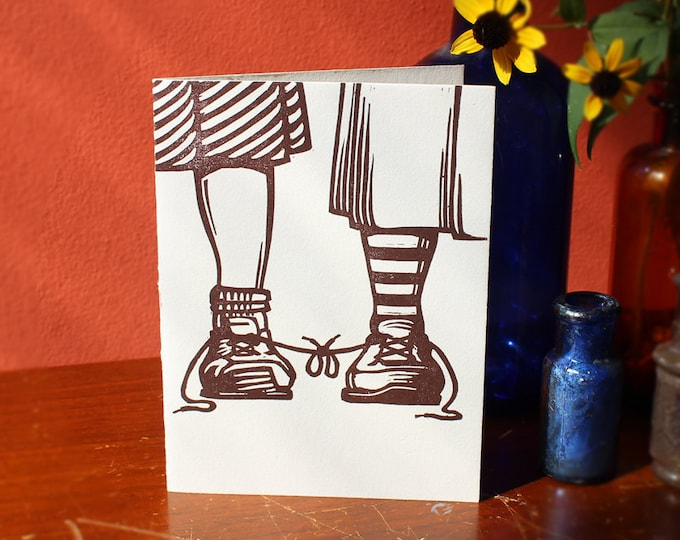 "Funny Letterpress Lesbian Wedding Congratulations Card: ""Congratulations on tying the knot"" for two brides"