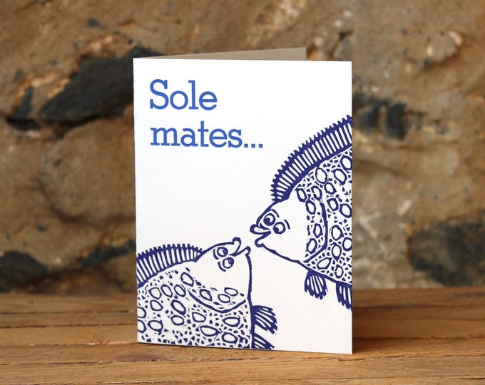 "Letterpress Wedding, Anniversary or Love Card: ""Sole mates..."""