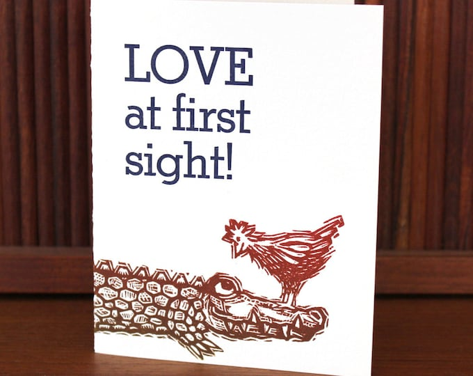 "Letterpress Valentine I Love You Card ""LOVE at first sight!"""