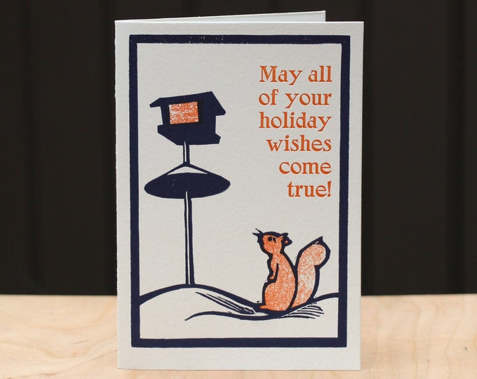 "Letterpress Holiday Card: ""Holiday Wishes"""