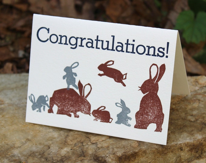 "Funny Letterpress Congratulations New Baby Card: ""Congratulations"" with baby bunnies"