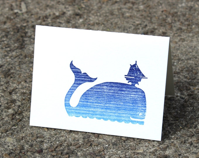 "Letterpress Greeting Card: ""Whale"""