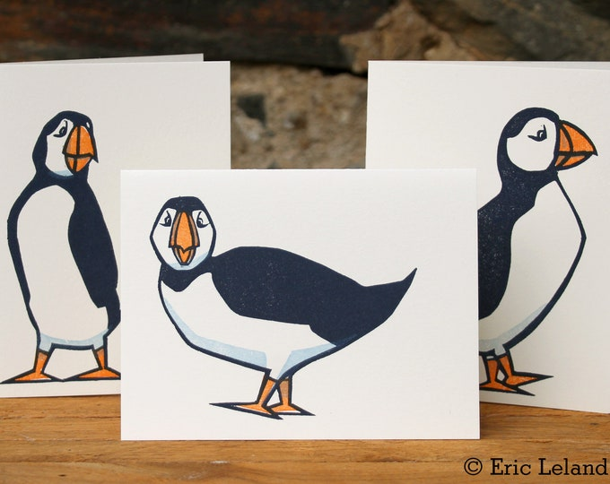 Set of Three Letterpress / Woodcut Greeting Cards: Puffins