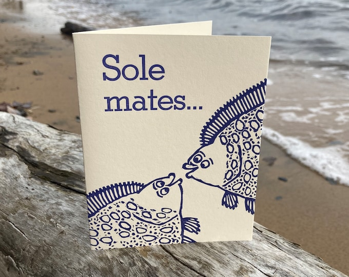 "Letterpress Wedding, Anniversary or Friendship Card : ""Sole mates..."""