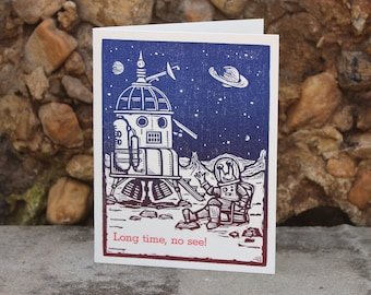 """Letterpress Greeting Card: """"Long time, no see!"""""""