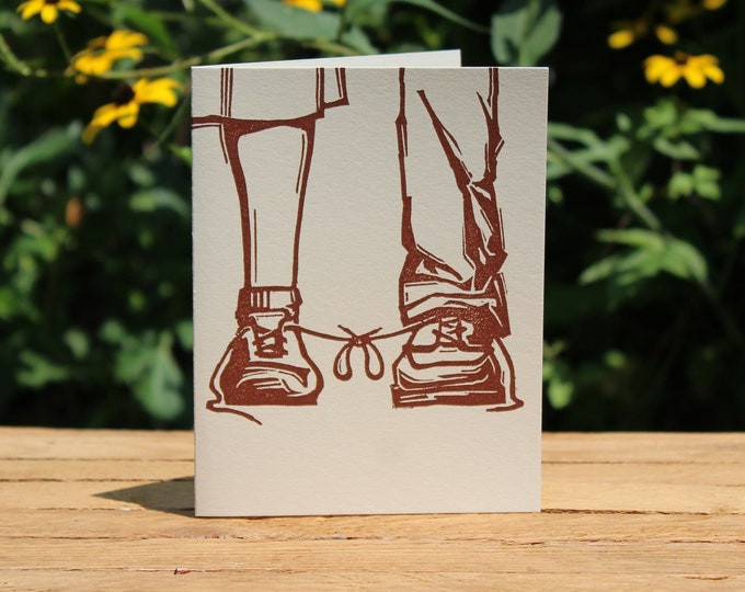 """Funny Letterpress Wedding Congratulations Card: """"Congratulations on tying the knot"""""""