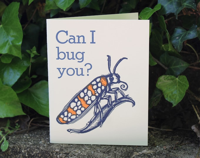 """Letterpress Greeting Card: """"Can I Bug You?"""""""