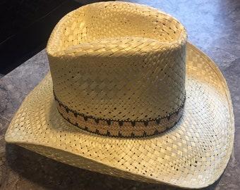 d30f4ce1e8d Vintage Resistol Larry Mahans Western Straw Hat Handwoven Cowboy Size 7  TEXAS