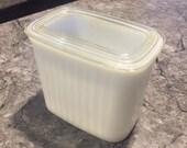 Vintage Hazel Atlas Vitrock Ribbed Milk Glass Refridgerator Dish Jar With Lid