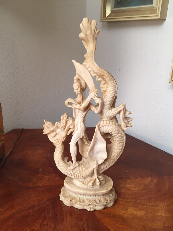 Vintage Asian Dragon Slayer Sculpture Faux Ivory Resin Art