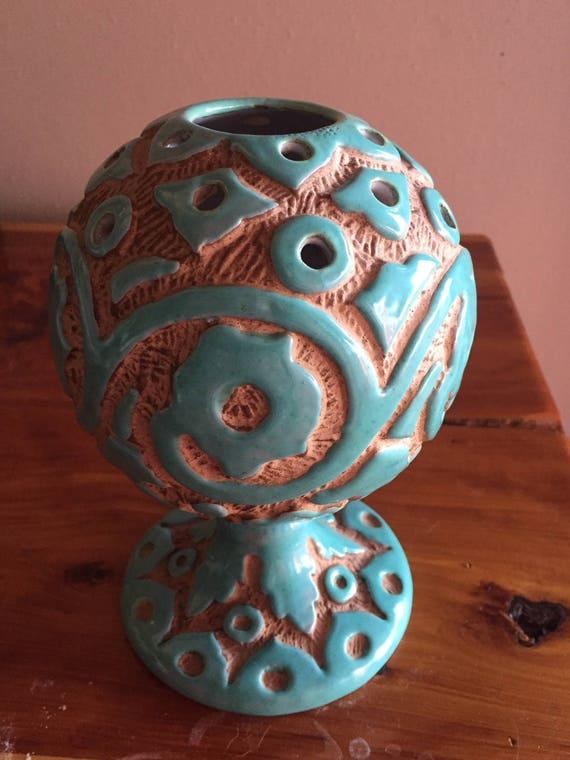 Vintage Italian ART Pottery Frog Vase Italy Mid-Century Modern Signed RV
