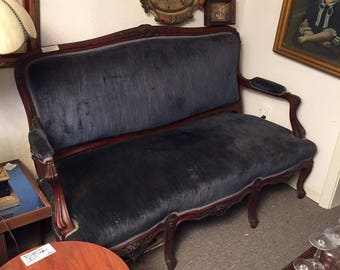 Antique Victorian Sofa Rose Carved Settee Couch Walnut - Pick up ONLY Houston Texas Area