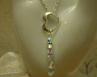 Floating Heart Clear Crystal Swarovski Necklace