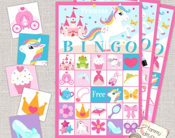 Princess Bingo Game, Printable Birthday Party Bingo, Princess Party Bingo for Girls, Kids' Bingo and Fairy Tale Card Game Instant Download