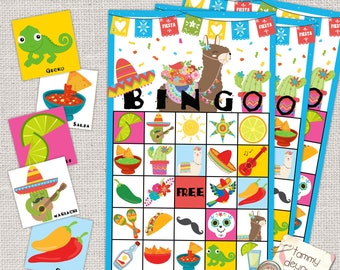 Fiesta Bingo Game, Printable Mexican Fiesta Birthday Party, Kids' Bingo for boys or girls, Cinco De Mayo Party Game, Fiesta Card Game