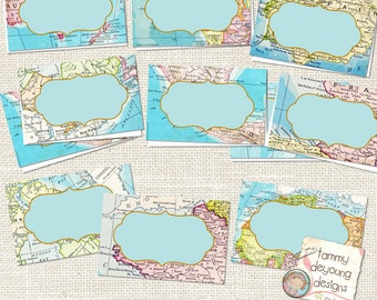 Travel place cards etsy map place cards world map tags tent labels digital buffet cards travel theme graduation wedding birthday baby shower places you go gumiabroncs Images