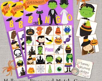 halloween bingo game printable bingo cards halloween kids party favor instant download for classroom birthday classroom school party