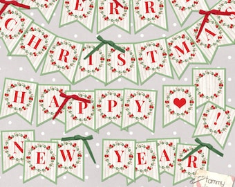 digital christmas bunting merry christmas banner happy new year garland printable christmas mantle garland red green holiday decoration