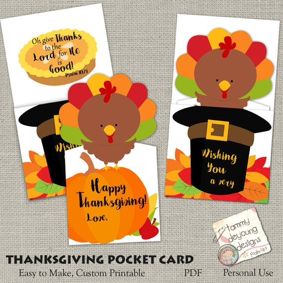 Thanksgiving Greeting Card Printable, Give Thanks Card, Digital Handmade Thanksgiving Card with Turkey, Give Thanks