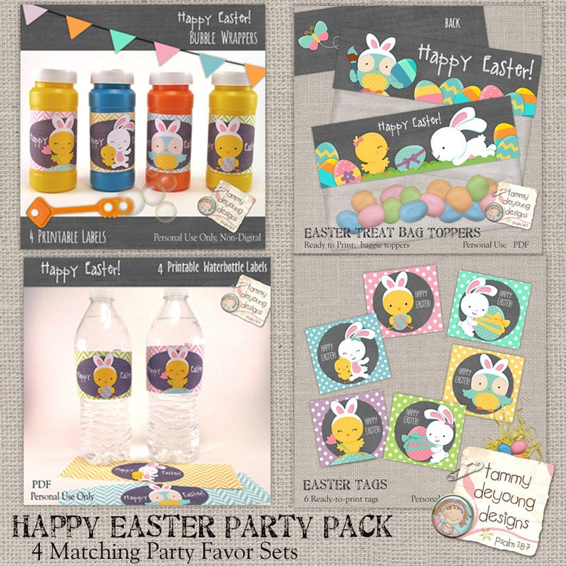 Easter Printable Party Favors Value Pack  Tags Water Bottle image 0