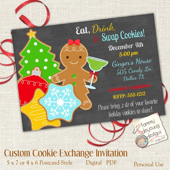 Christmas Cookie Party Invite.Christmas Cookie Exchange Invitation Customized Cookie Swap Invite Digital You Print Holiday Cookie Party Invite Eat Drink Swap Cookies