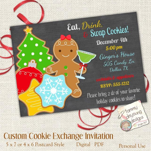 Christmas Cookie Exchange Invitation Customized Cookie Swap Invite