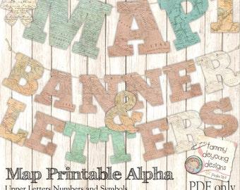Map Banner Garland Printable *Shabby World Map Alphabet Bunting* Letters custom party decor, graduation, weddings, travel decor, map theme