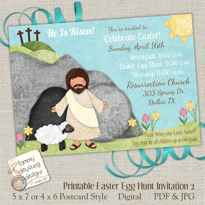 Religious Easter Egg Hunt Invitation Easter Worship Invite image 0