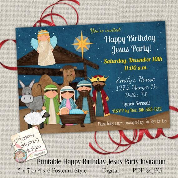 Christmas party invitation happy birthday jesus party invite etsy image 0 filmwisefo