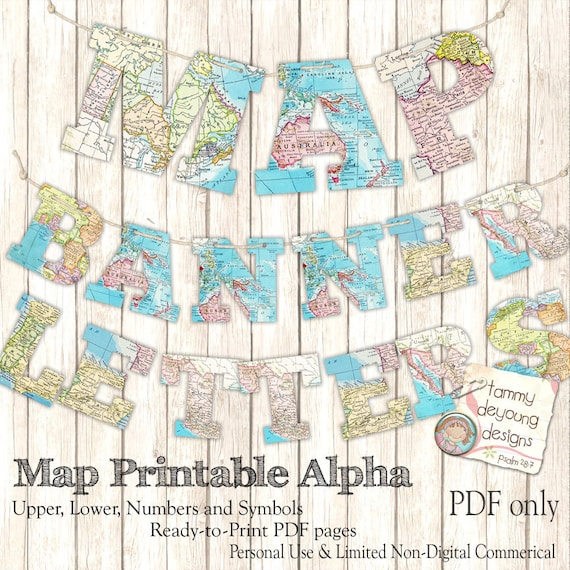 Map Banner Garland Printable World Map Alphabet Letters For Etsy