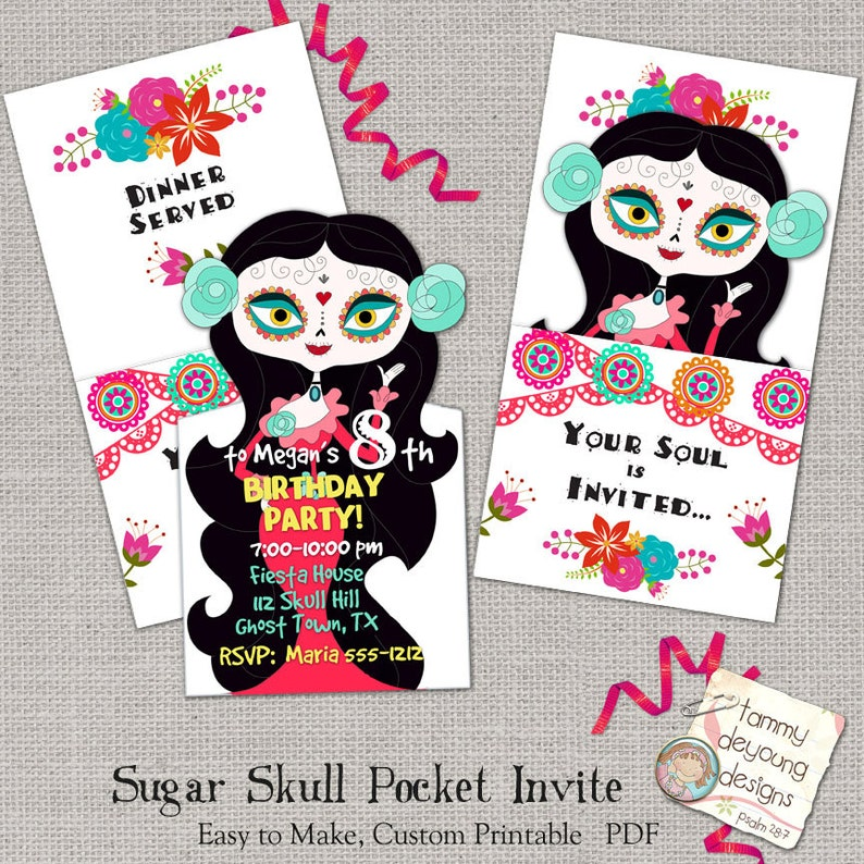 Sugar Skull Party Invitation Printable Birthday Invite