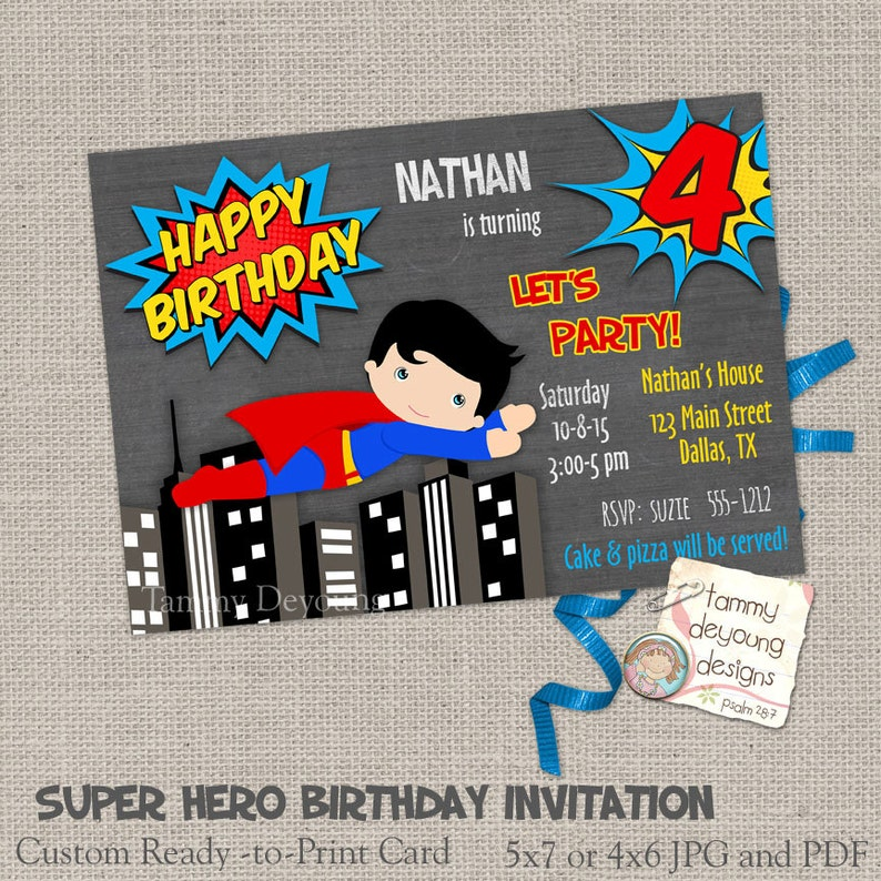 Super Hero Birthday Invitations Digital Custom Cards For Kids