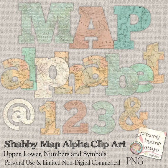 Old World Map Letters Map Clip Art Shabby Map Digital Etsy