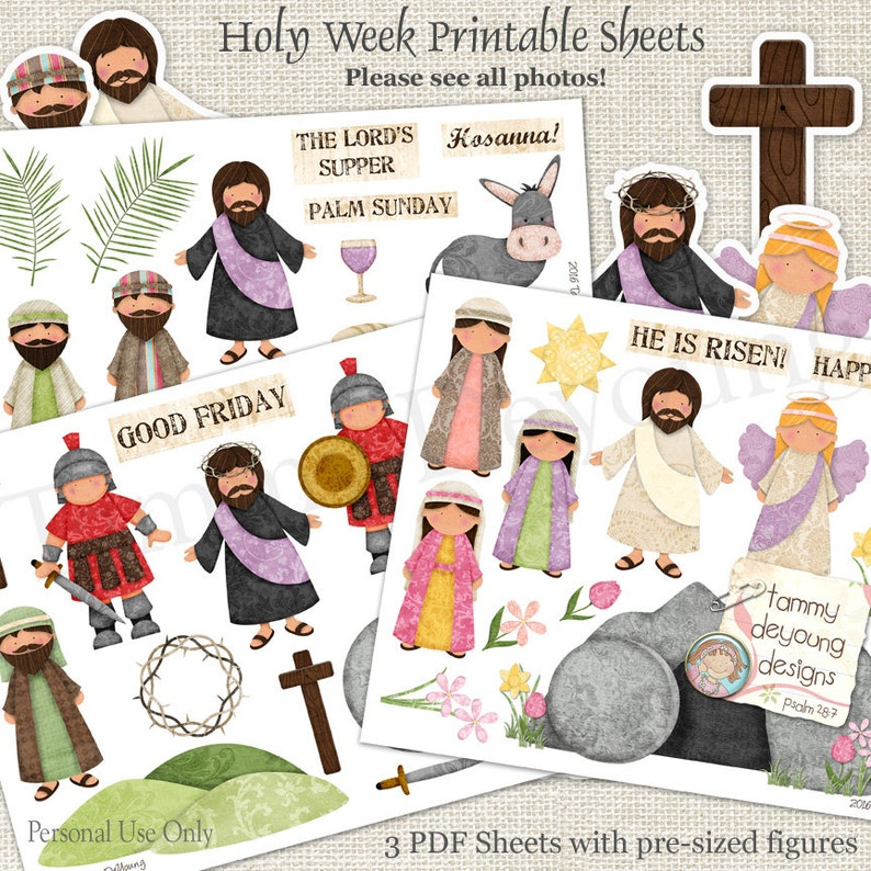Religious Easter Printable for kids Christian Easter Stickers image 0