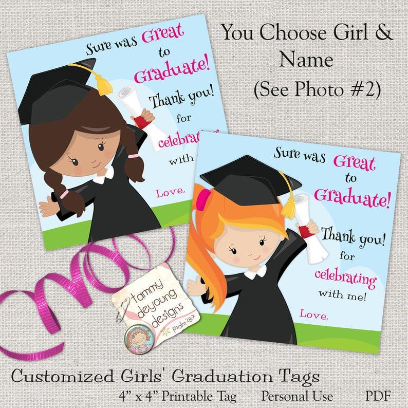 Girls Graduation Tags Kids Graduation Sticker Digital image 0