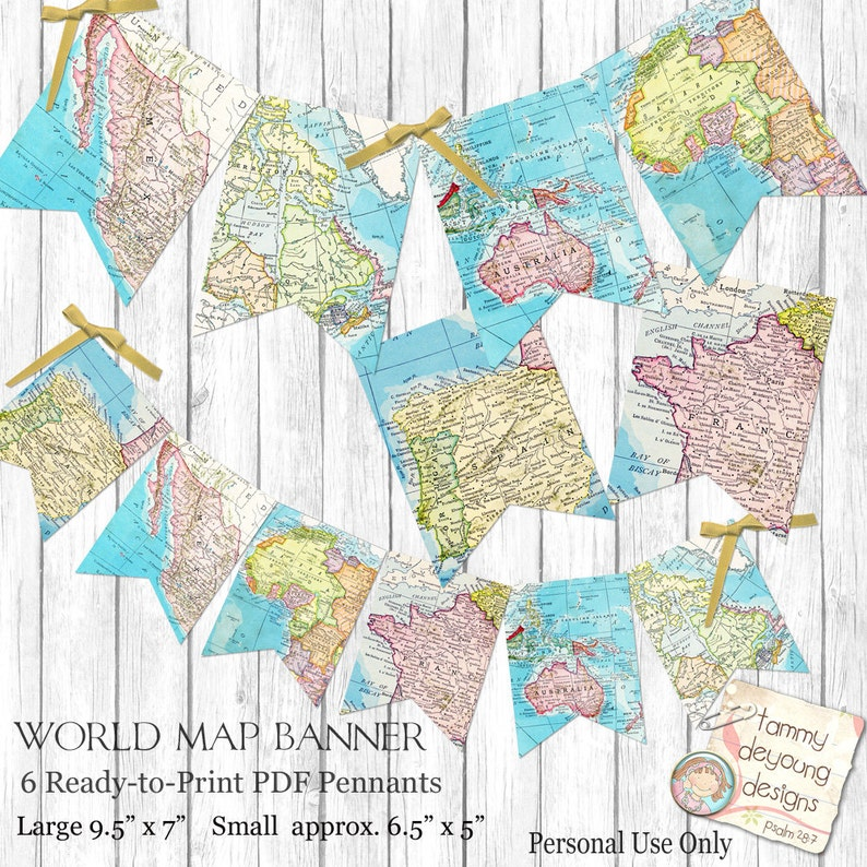World Map Bunting Map Garland Printable Map Banner Travel Etsy