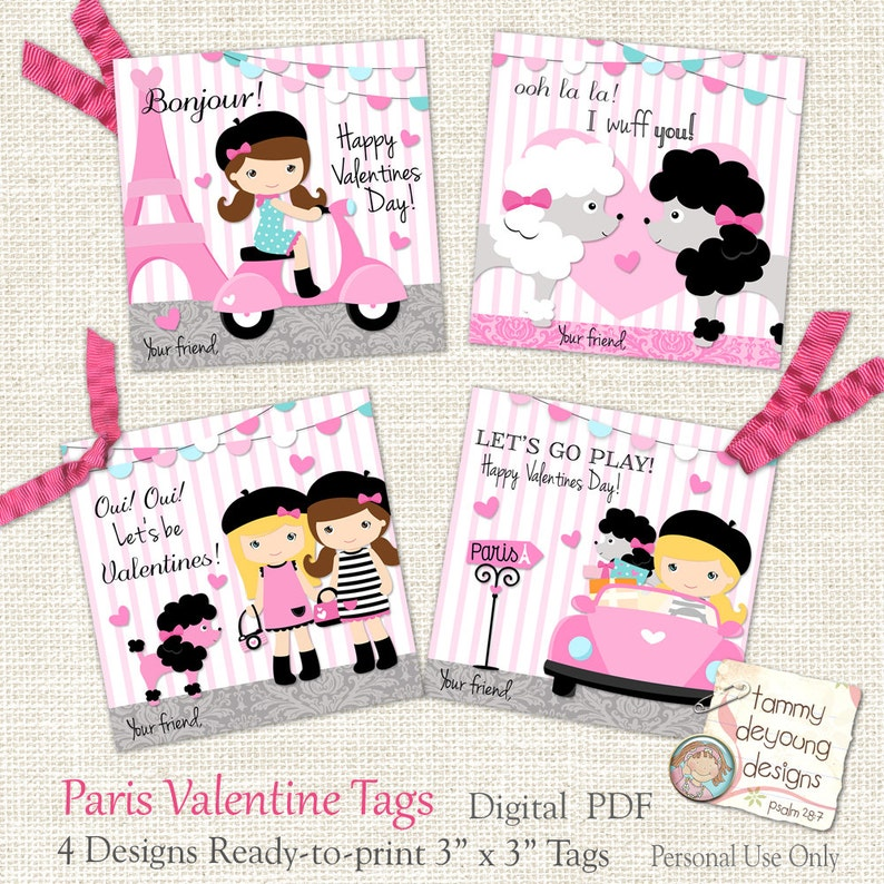 Pink Paris Valentine tags for Girls Kids Valentine Day Cards image 0